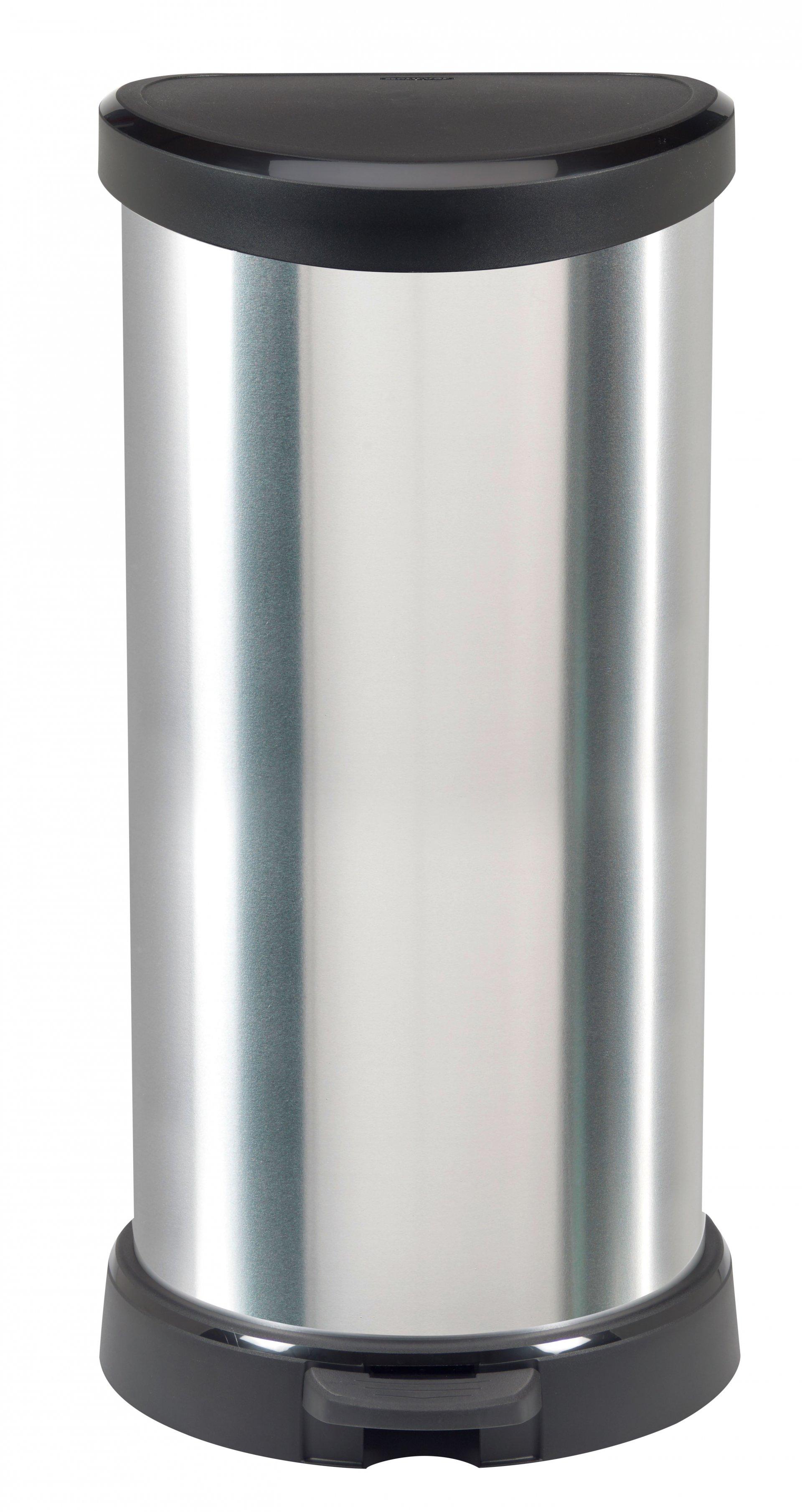 Curver odpakový koš, DECO BIN, stříbrný, 40l