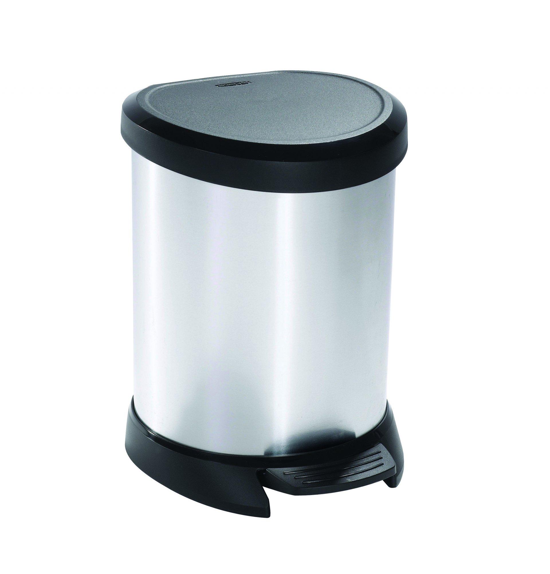 Curver odpadkový koš, DECO BIN, střibrný/černý, 5l