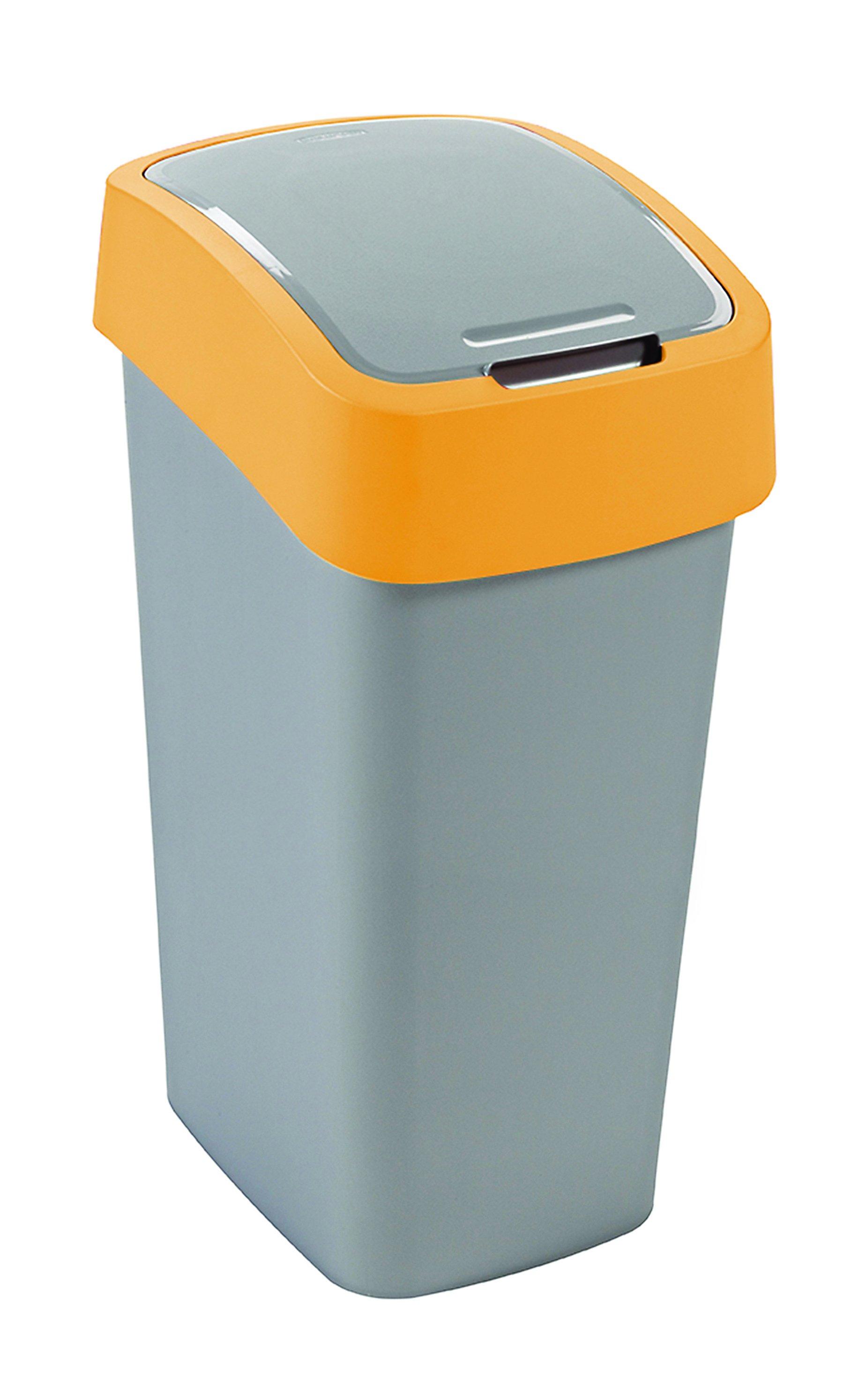 Curver odpadkový koš, FLIP BIN, stříbrný/žlutý, 50l