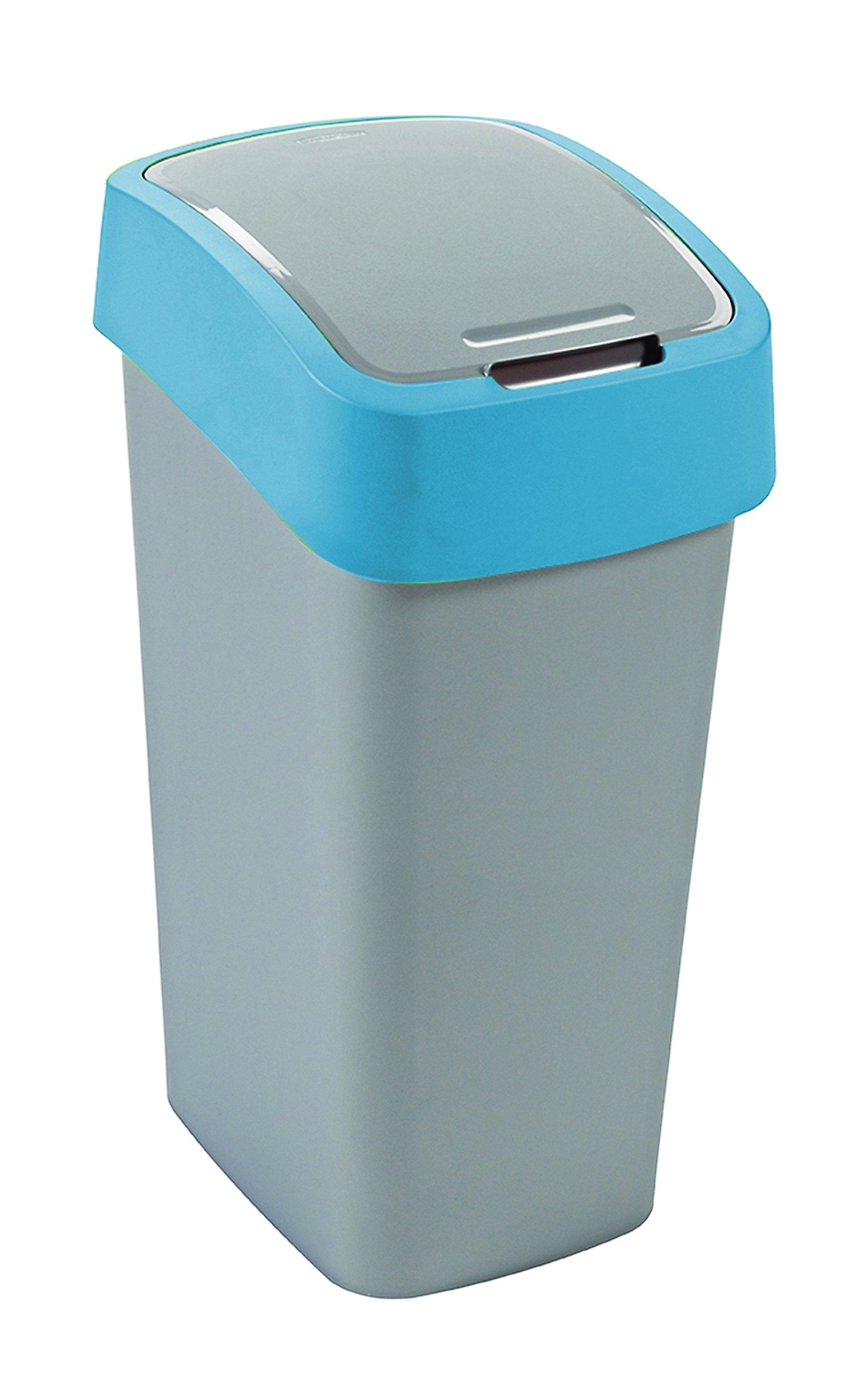 Curver odpadkový koš, FLIP BIN, stříbrný/modrý, 50l