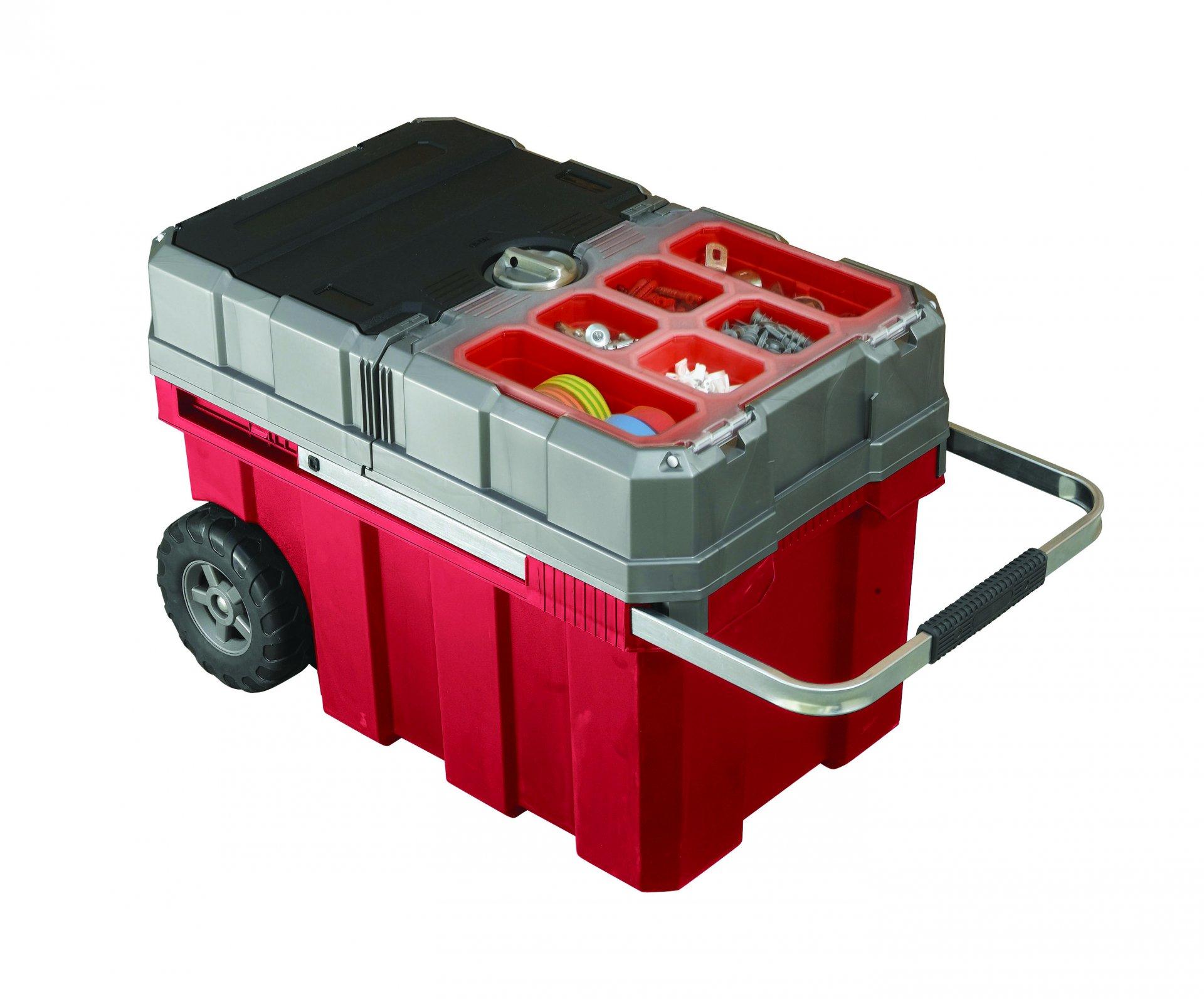 Keter kufr na nářadí s kolečky červený 61,6x37,8x41,5cm