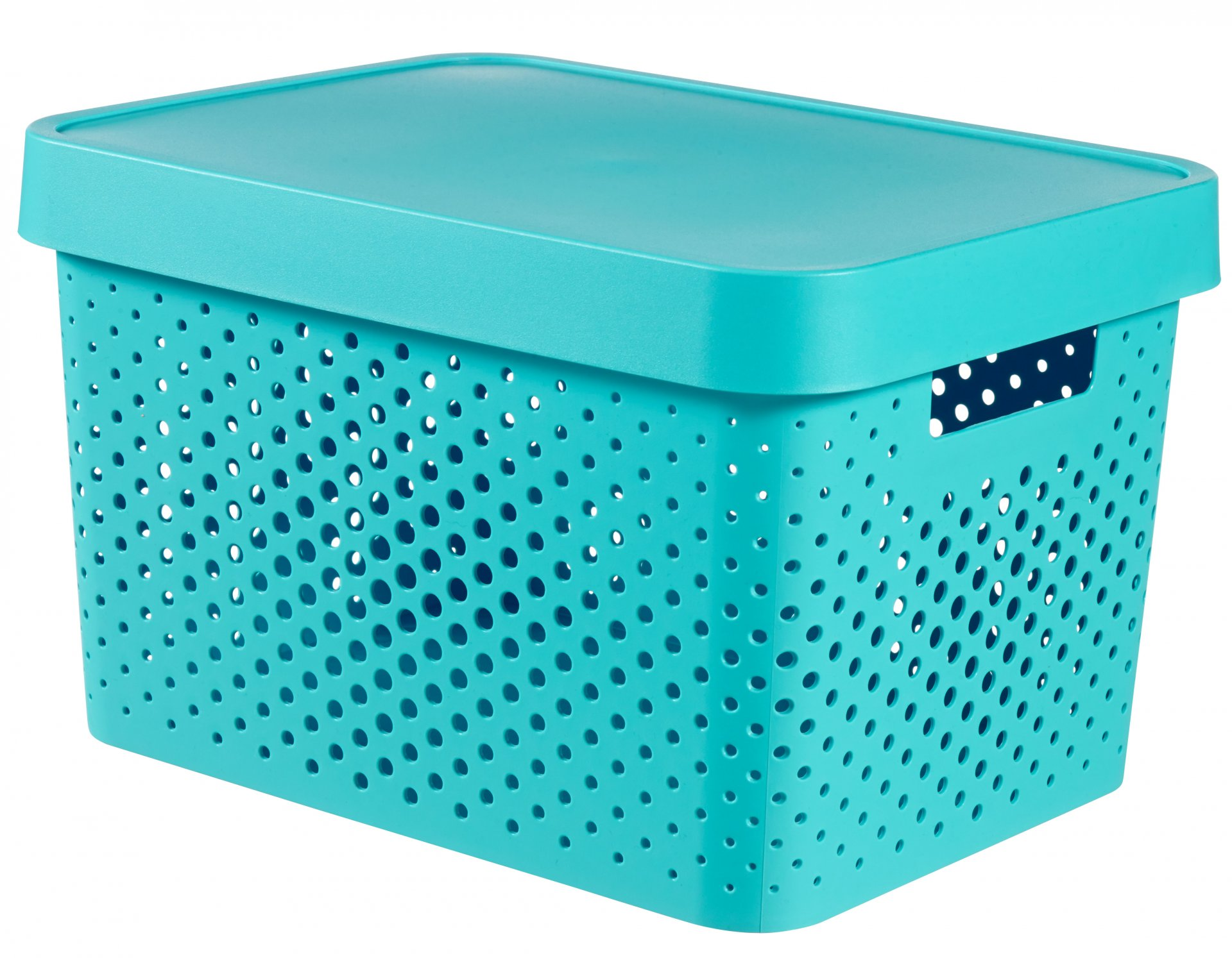 Curver Úložný box INFINITY 17l s víkem modrý puntíky