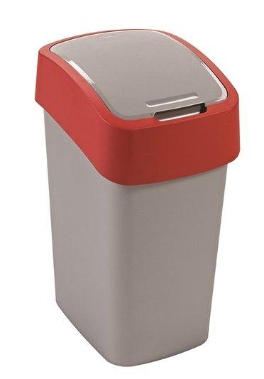 Curver odpadkový koš, FLIP BIN, stříbrný/červený, 10l