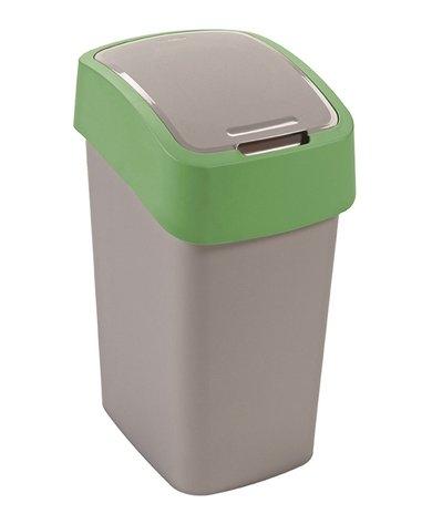 Curver odpadkový koš, FLIP BIN, stříbrný/zelený, 10l