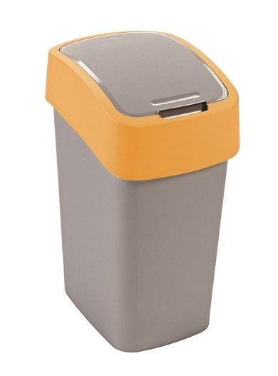 Curver odpadkový koš, FLIP BIN, stříbrný/žlutý, 10l