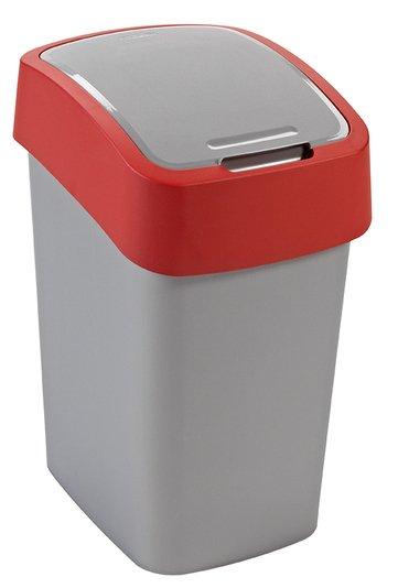 Curver odpadkový koš, FLIP BIN, stříbrný/červený, 25l