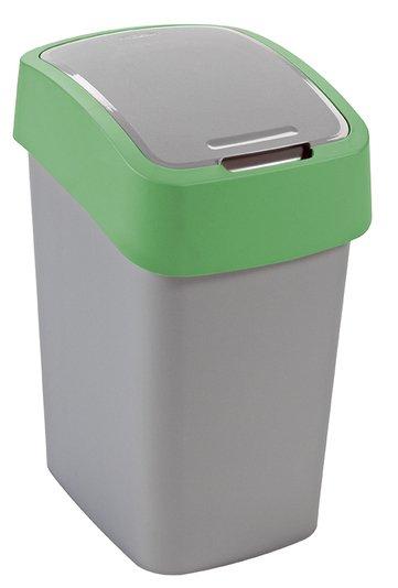 Curver odpadkový koš, FLIP BIN, stříbrný/zelený, 25l