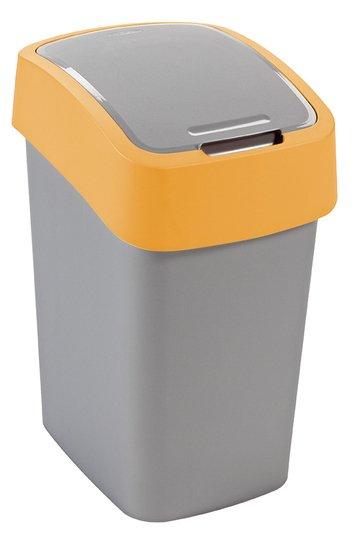 Curver odpadkový koš, FLIP BIN, stříbrný/žlutý, 25l