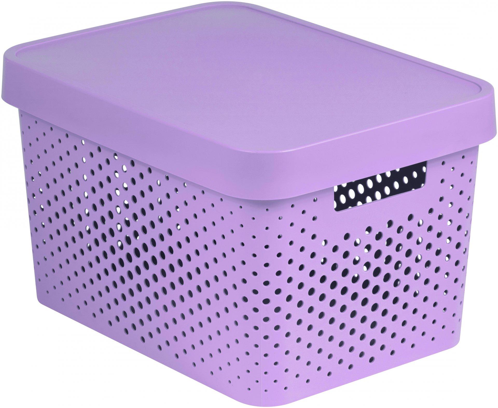 Curver Úložný box INFINITY 17l s víkem růžový puntíky