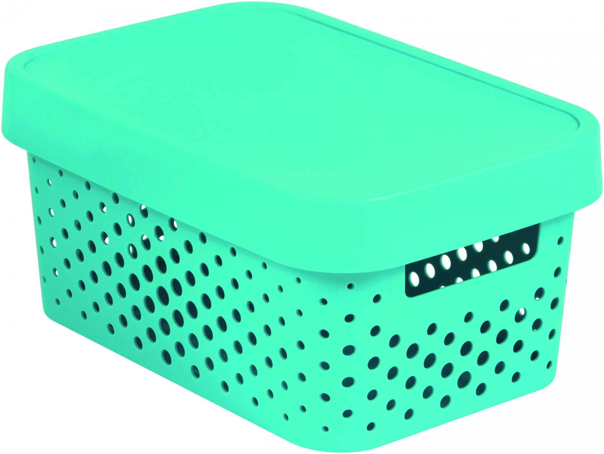 Curver Úložný box INFINITY 4,5l s víkem modrý puntíky