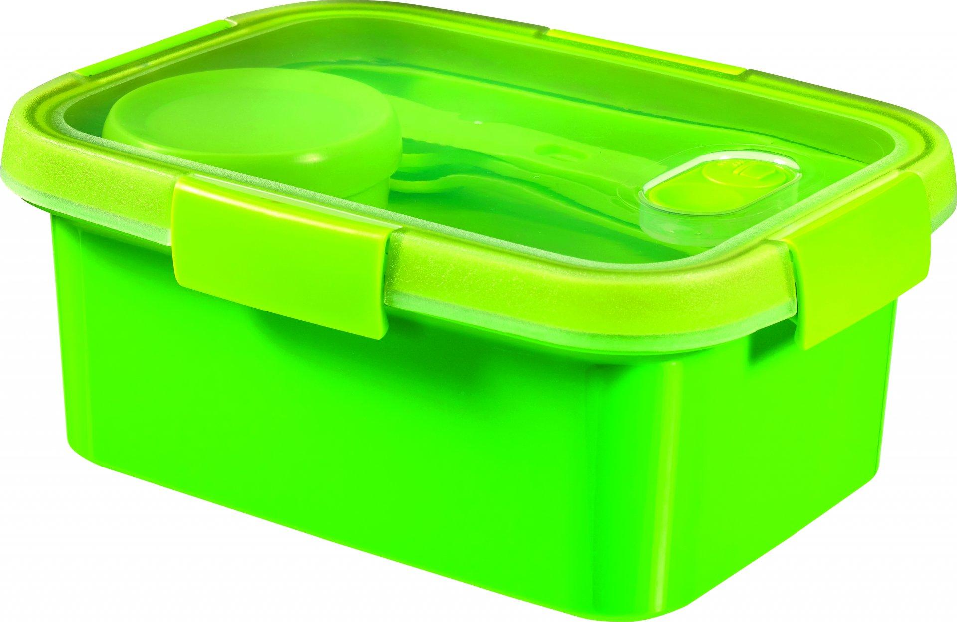 Curver dóza SMART TO GO 1,2l s příborem, mističkou a táckem zelená
