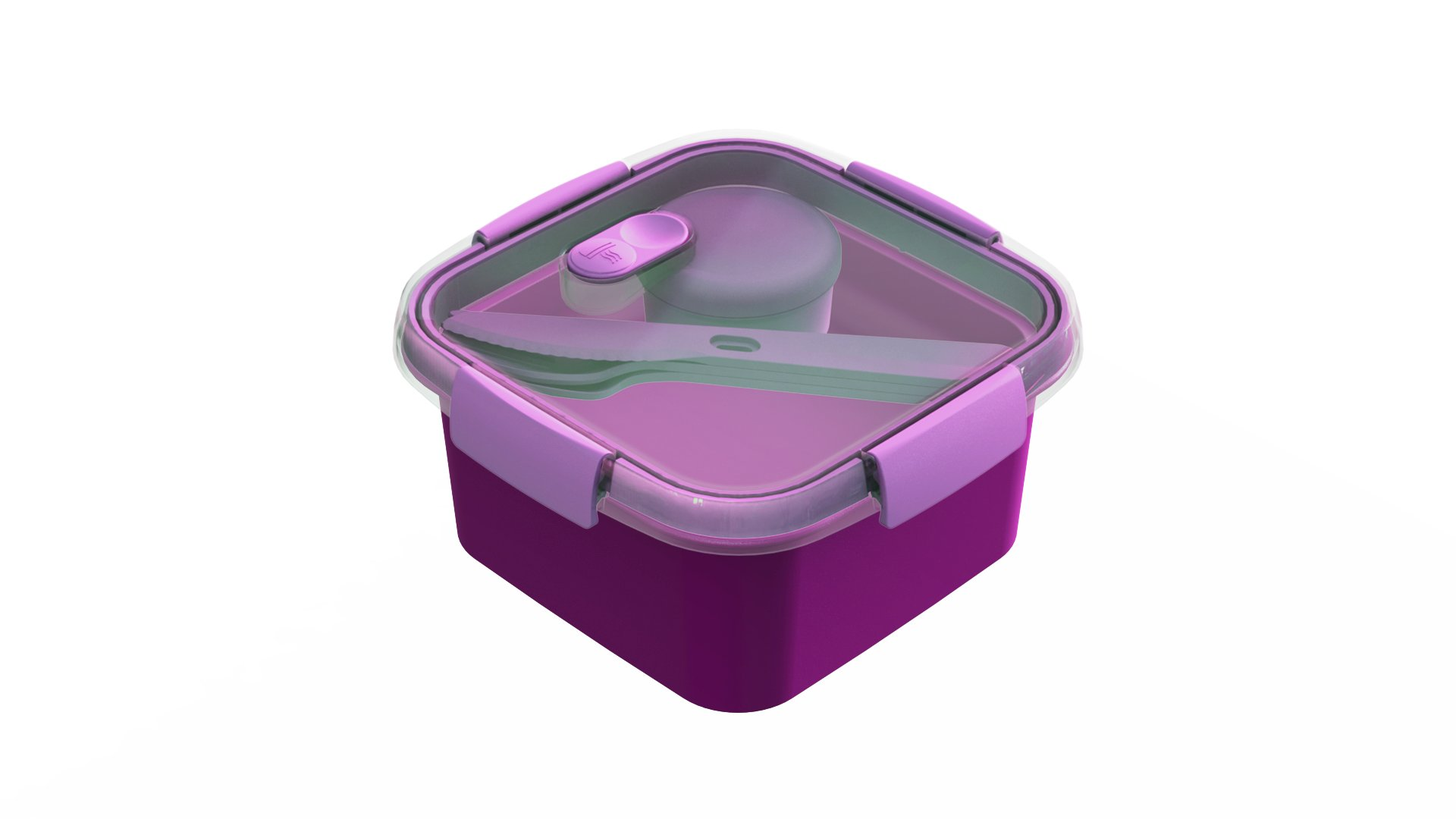 Curver dóza SMART TO GO 1,1l s příborem, mističkou a táckem fialová