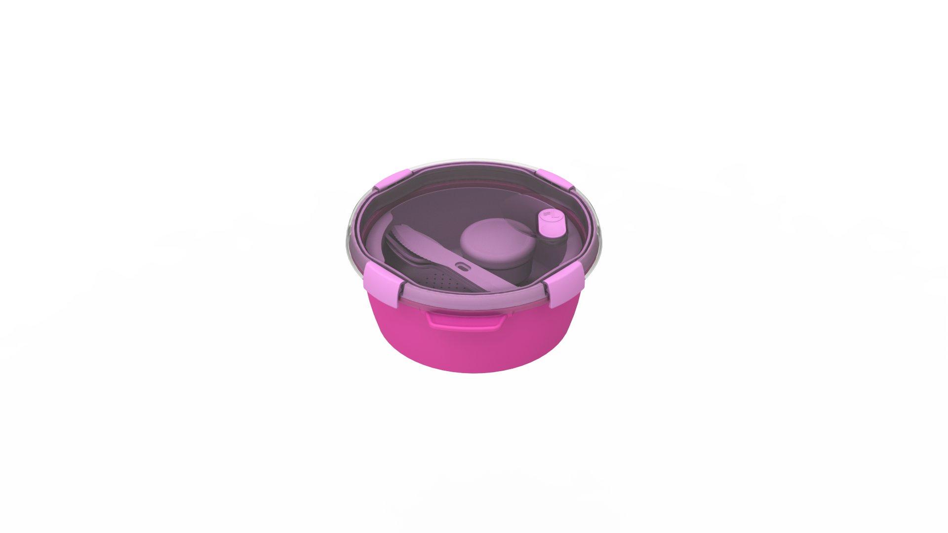 Curver kulatá dóza SMART TO GO 1,6l s příborem, mističkou a táckem fialová