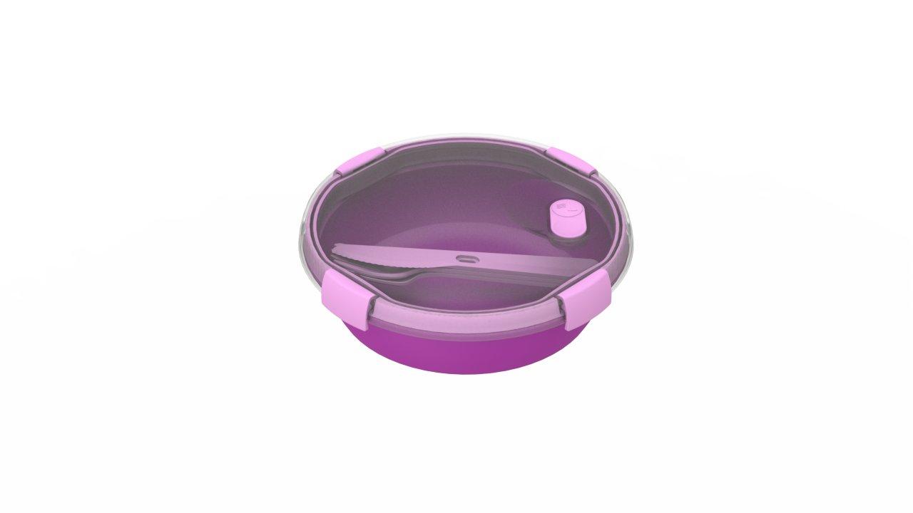 Curver kulatá dóza SMART TO GO 1l s příborem fialová