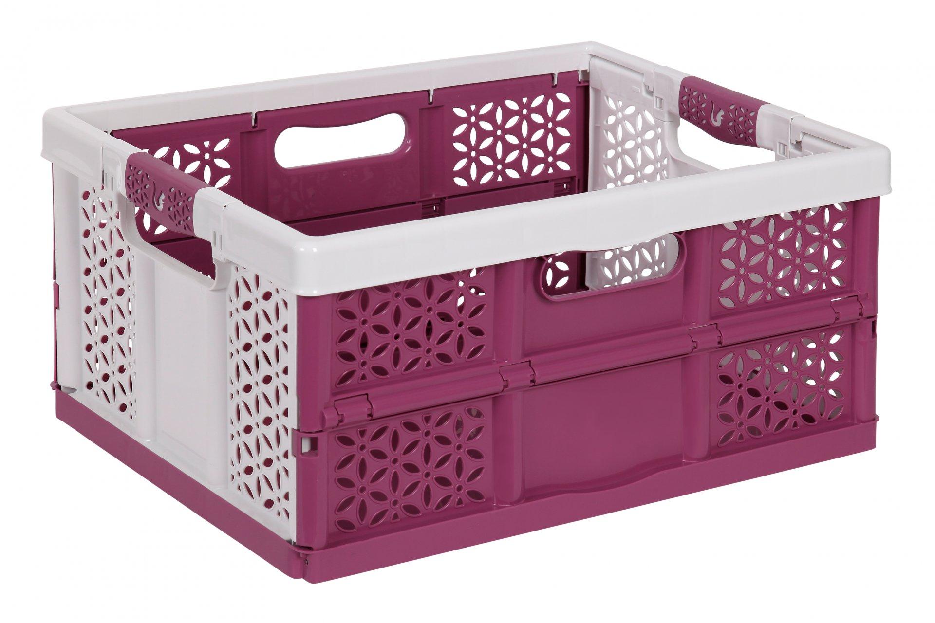 Keeeper Skládací box s měkkými úchyty lea, bílá/vínová 32L