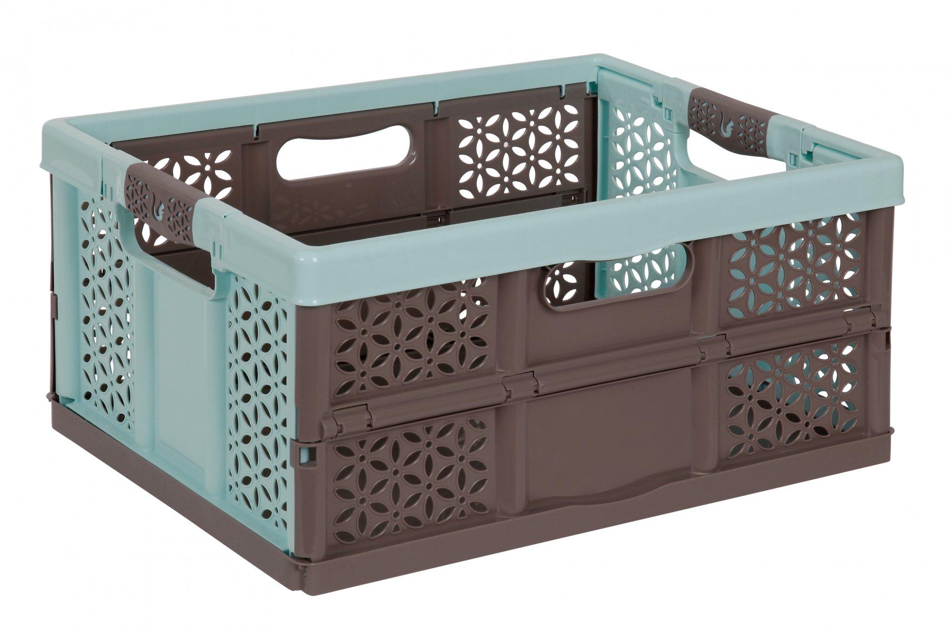 Keeeper Skládací box s měkkými úchyty lea, modrá/taupe 32L