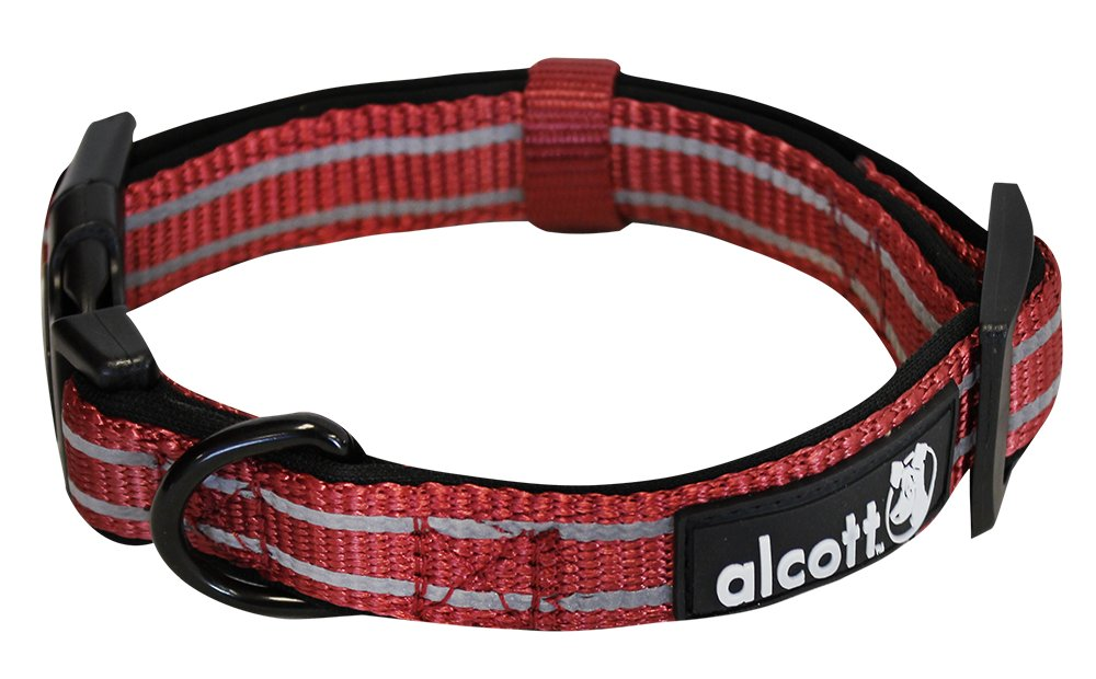 Alcott reflexní obojek pro psy, Adventure, červený, velikost L