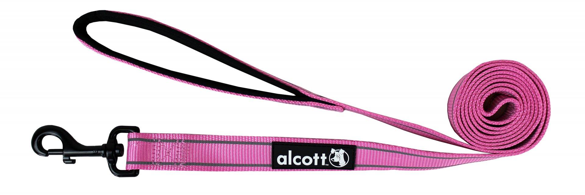 Alcott reflexní vodítko pro psy, růžové, velikost M