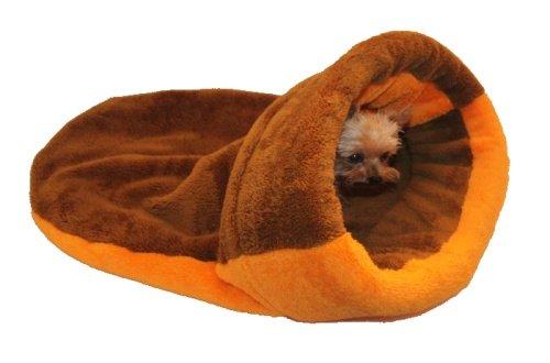 Marysa pelíšek 2v1 s lemem, hnědý/oranžový, velikost XL