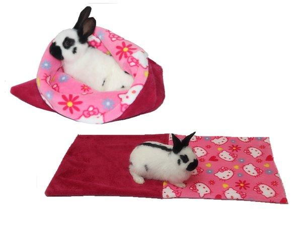 Pelíšek pro hlodavce - fuchsiová/růžové kočky