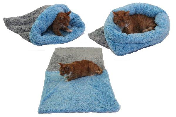 Marysa pelíšek 3v1 pro kočky, DE LUXE, šedý/světle modrý, velikost XL