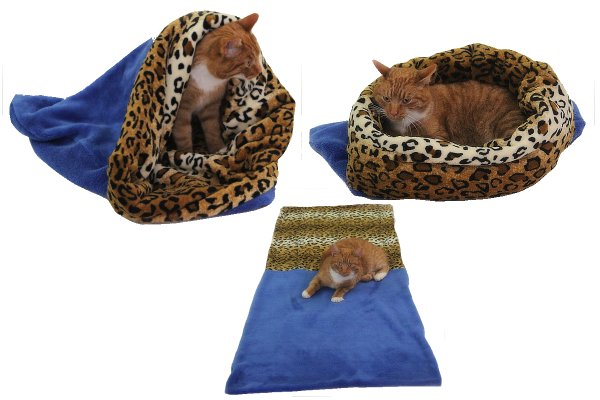 Marysa pelíšek 3v1 pro kočky, modrý/leopard, velikost XL