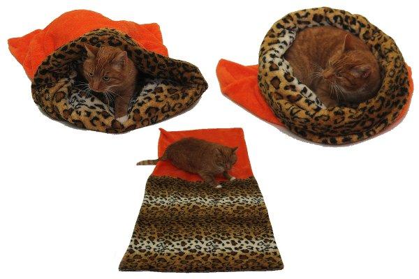 Marysa pelíšek 3v1 pro kočky, oranžový/leopard, velikost XL