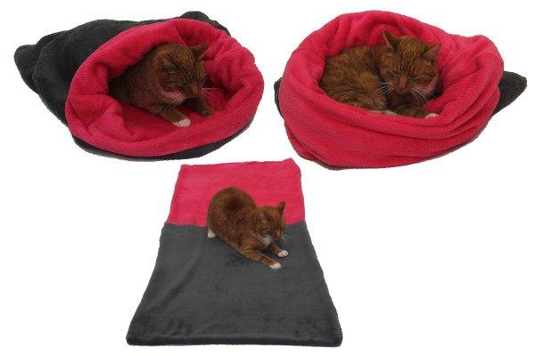 Pelíšek pro kočky XL - šedá/tmavě růžová