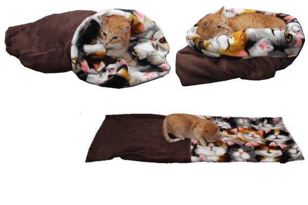 Marysa pelíšek 3v1 pro kočky, tmavě hnědý/kočky, velikost XL