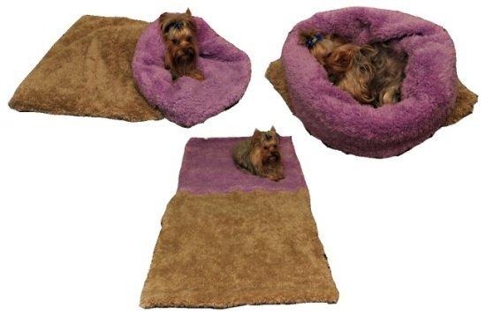 Marysa pelíšek 3v1 pro psy, DE LUXE, béžový/fialový, velikost XL