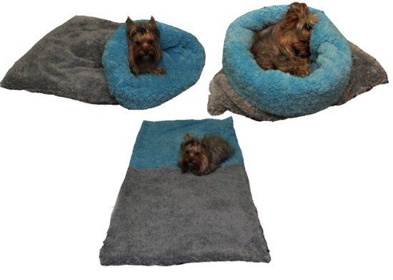 Marysa pelíšek 3v1 pro psy, DE LUXE, šedý/světle modrý, velikost XL