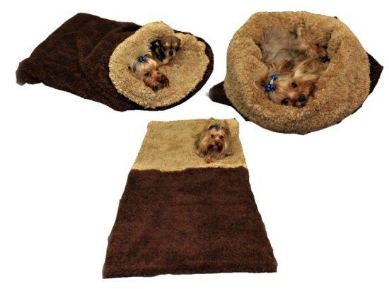 Marysa pelíšek 3v1 pro psy, DE LUXE, tmavě hnědý/béžový, velikost XL