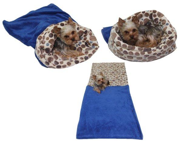 Marysa pelíšek 3v1 pro psy, modrý/hnědá kolečka, velikost XL