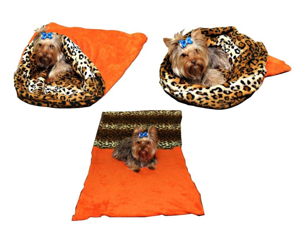 Marysa pelíšek 3v1 pro psy, oranžový/leopard, velikost XL