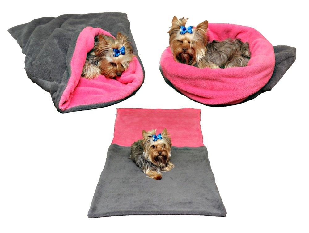 Marysa pelíšek 3v1 pro psy, šedý/tmavě růžový, velikost XL