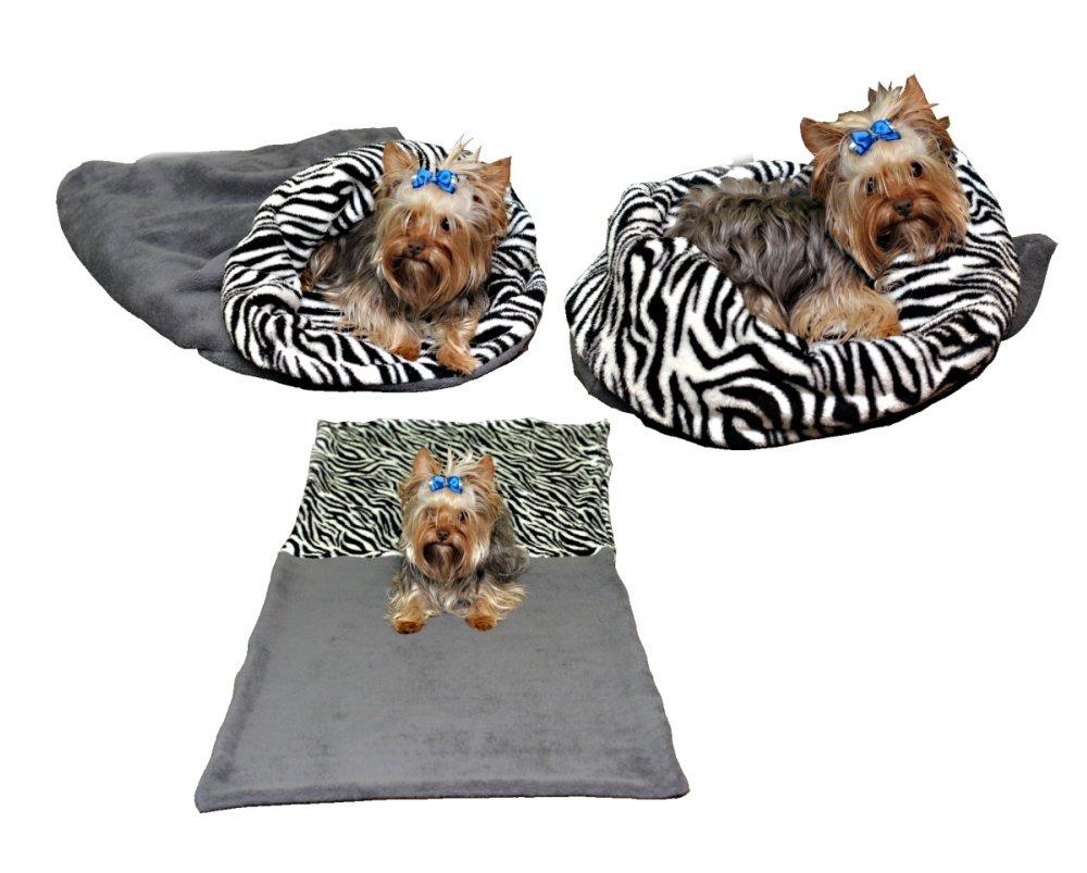 Marysa pelíšek 3v1 pro psy, šedý/zebra, velikost XL