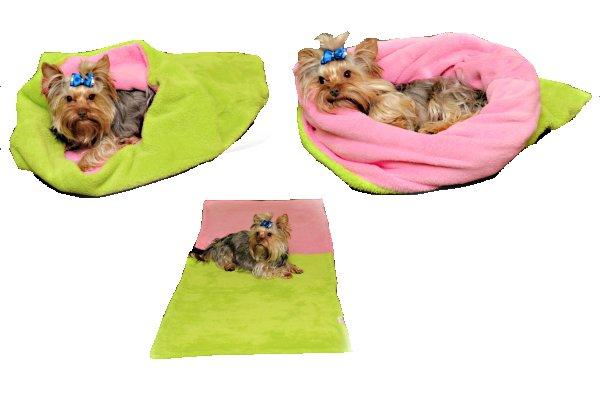Marysa pelíšek 3v1 pro psy, světle zelený/růžový, velikost XL