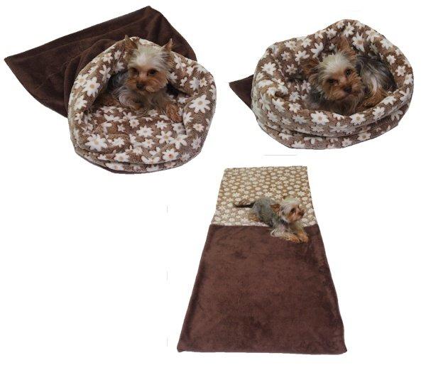 Marysa pelíšek 3v1 pro psy, tmavě hnědý/hnědé kytičky, velikost XL