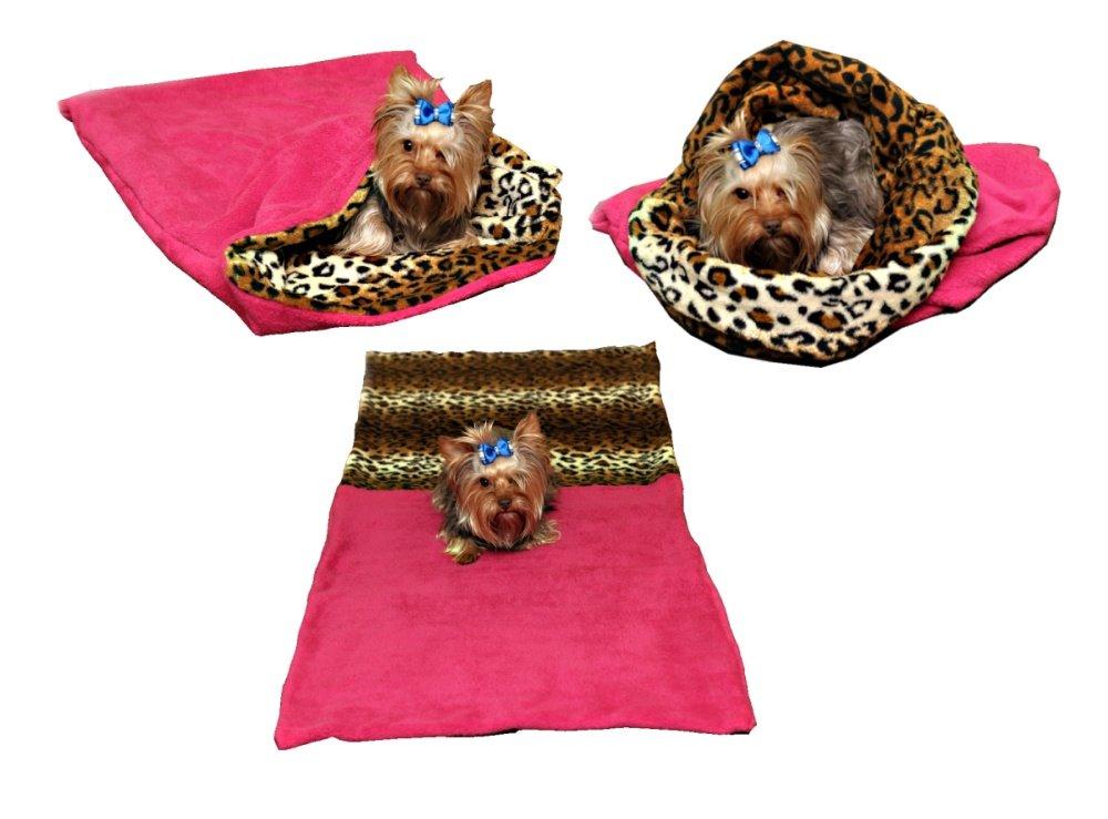 Marysa pelíšek 3v1 pro psy, tmavě růžový/leopard, velikost XL