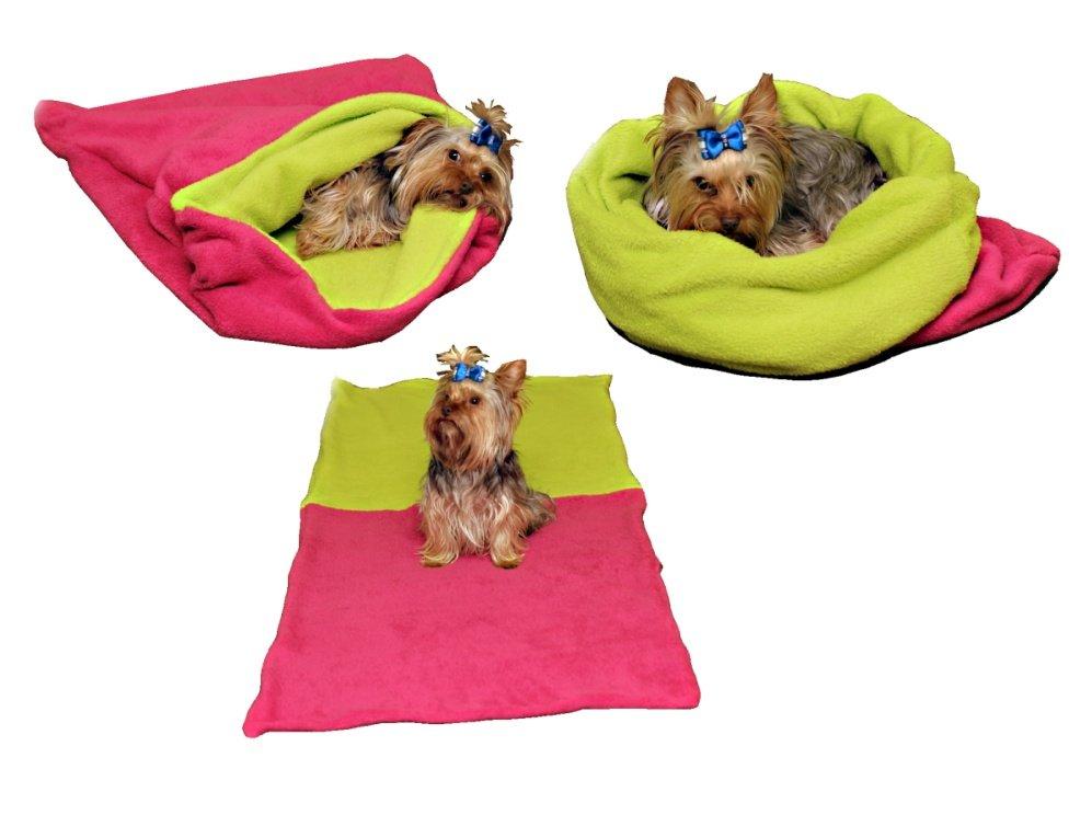 Marysa pelíšek 3v1 pro psy, tmavě růžový/světle zelená, velikost XL