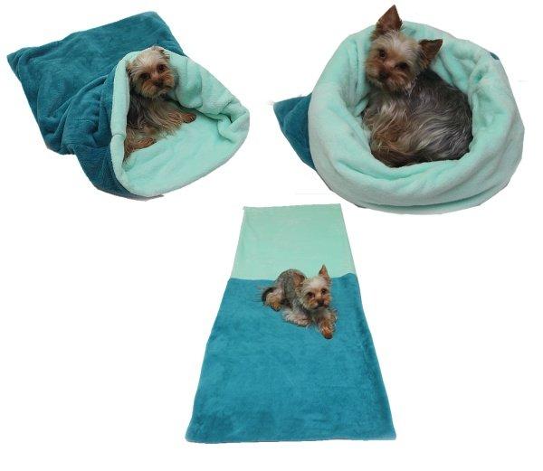 Marysa pelíšek 3v1 pro psy, tmavě zelený/světle tyrkysový, velikost XL