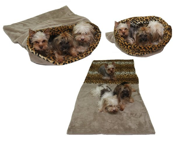 Marysa pelíšek 3v1 pro psy, béžový/leopard, velikost XXL