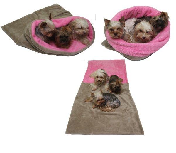Marysa pelíšek 3v1 pro psy, béžový/světle růžový, velikost XXL