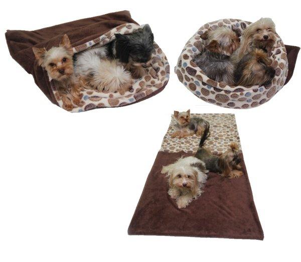 Marysa pelíšek 3v1 pro psy, tmavě hnědý/hnědé kolečko, velikost XXL