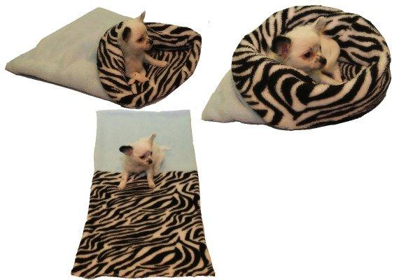 Marysa pelíšek 3v1 pro štěňátka/koťátka, světle modrý/zebra