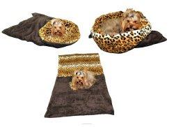 Marysa pelíšek 3v1 pro psy, tmavě šedý/leopard, velikost XL