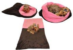 Marysa pelíšek 3v1 pro psy, tmavě šedý/světle růžový, velikost XL