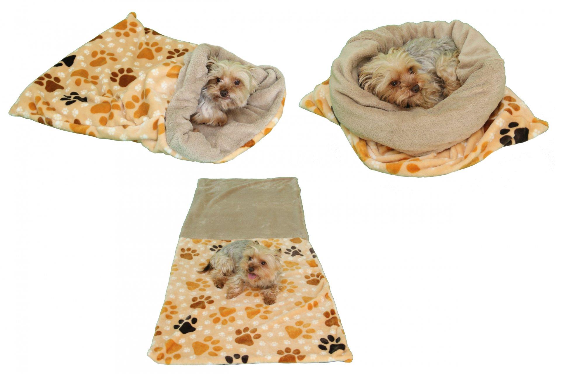 Marysa pelíšek 3v1 pro psy, béžový/tlapky, velikost XL