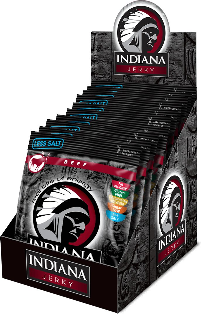 INDIANA Jerky beef (hovězí) Less Salt, 250g - display