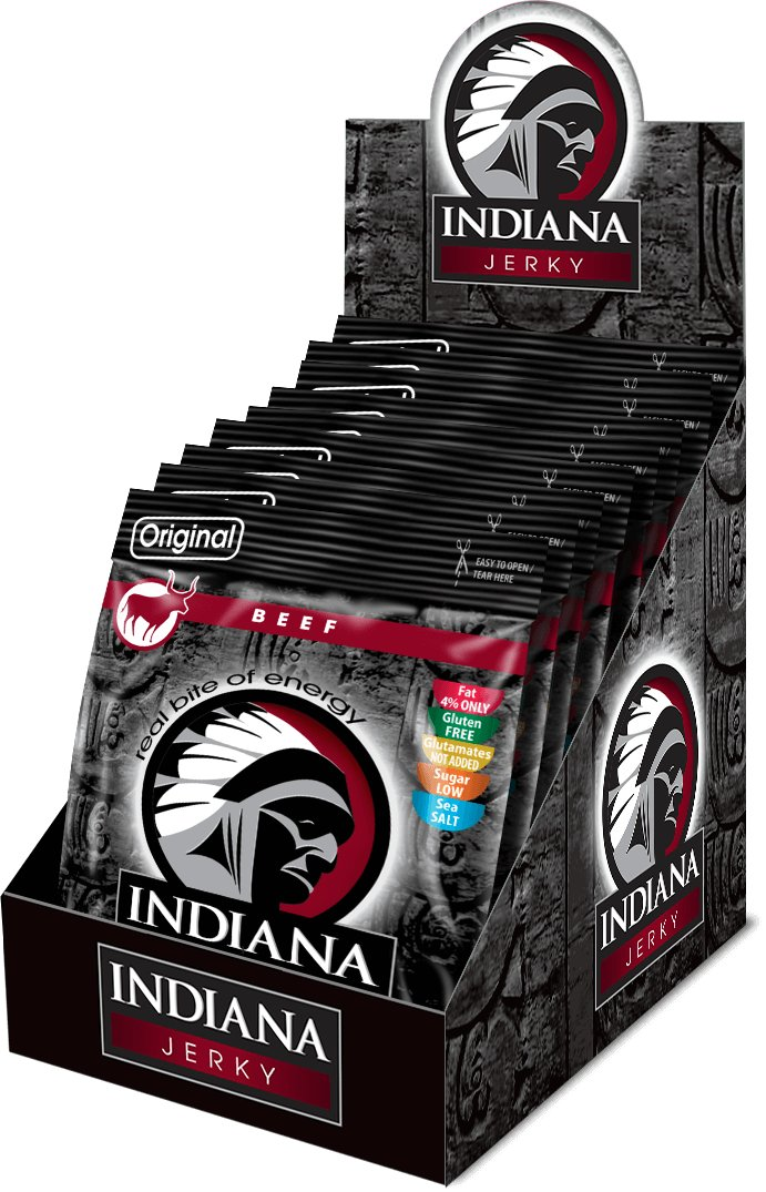 INDIANA Jerky hovězí, Original, 250g - display